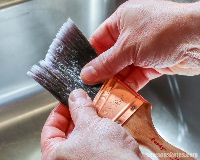 How to clean paint brushes - massage Dawn dish soap into the bristles of the brush