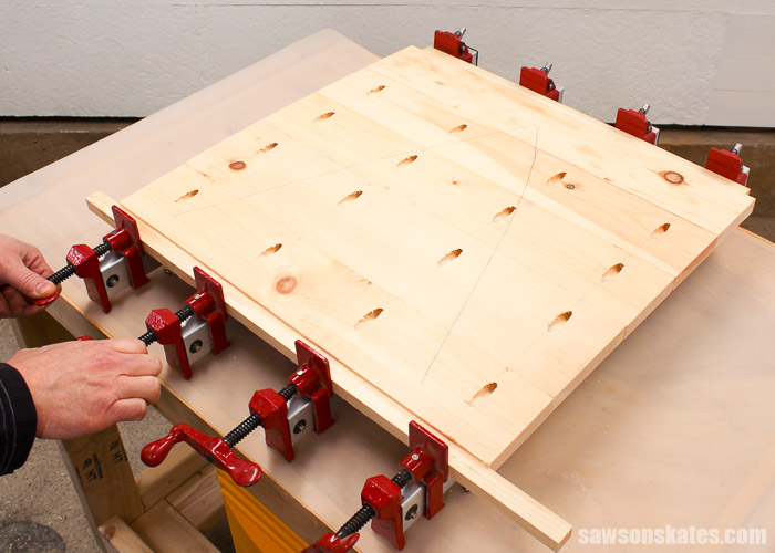 Pocket Hole Tips for Edge Joints - use clamps to keep joints properly aligned and to produce professional looking joints