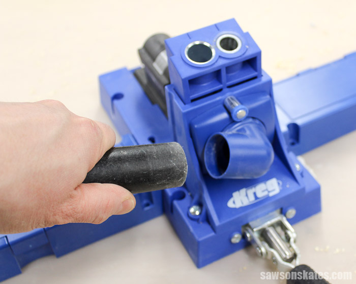 Make the Best Pocket Hole Plugs - use the vacuum port and a Shop Vac to remove wood chips while drilling and help to reduce heat