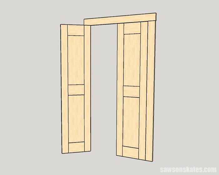 Make a Door with Pocket Holes - instead of one single door, my new design would feature tow narrower doors