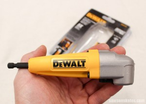 A right angle drill for hard-to-reach places is small enough to fit in the palm of your hand