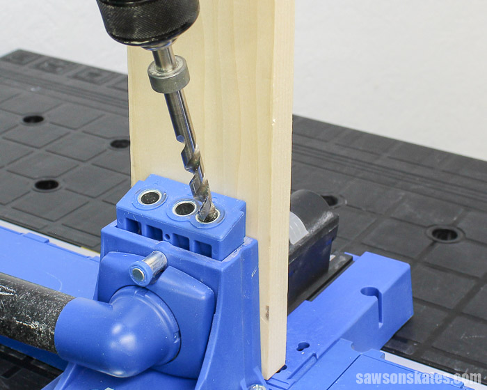 Prevent Rough Pocket Holes - Place the drill bit in the Kreg Jig drill guide and bring the drill up to full speed