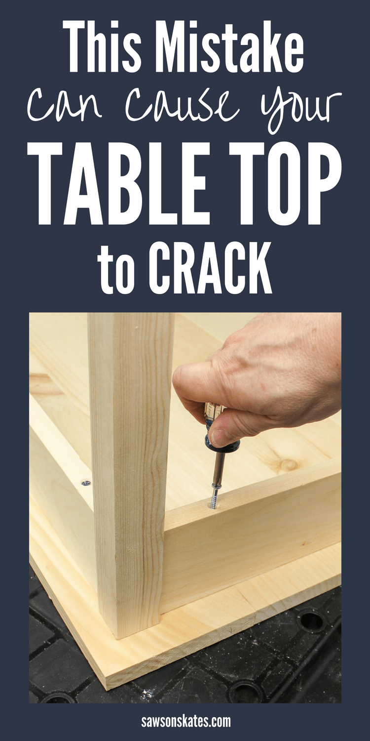 When building DIY furniture the best way to attach a table top is with store-bought or DIY fasteners which allows for movement during seasonal changes. Failing to allow for movement can cause wood to crack and split. #woodworkingtips #diyfurniture