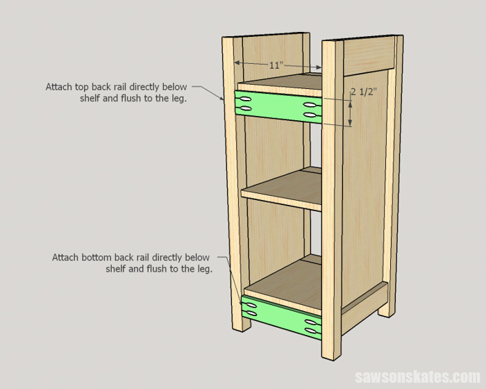 DIY Wine Cabinet - install the back rails