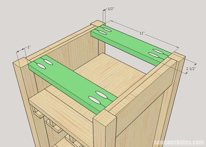 DIY Wine Cabinet - install the top stretchers