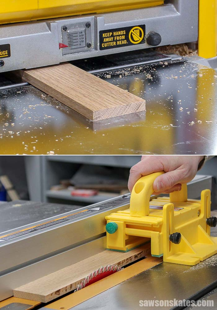 A piece of oak is planed and then ripped to width to make a DIY miter saw zero clearance insert