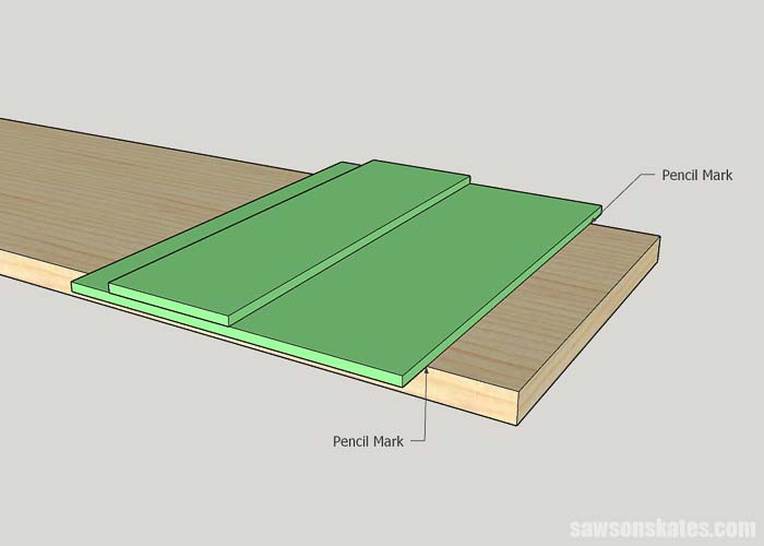 Sketch of how to use circular saw jig on a piece of wood