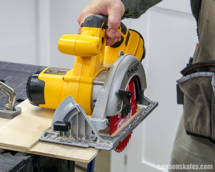 Trimming the left edge of a DIY circular saw guide