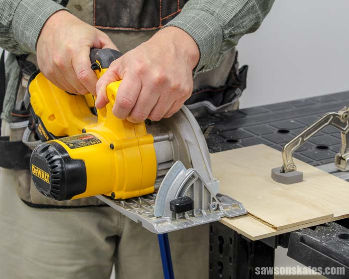 Trimming the right edge of a DIY circular saw crosscut jig