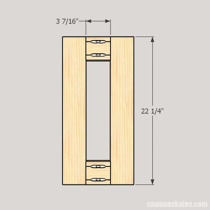 Sketch showing the dimensions for workshop cabinet divider
