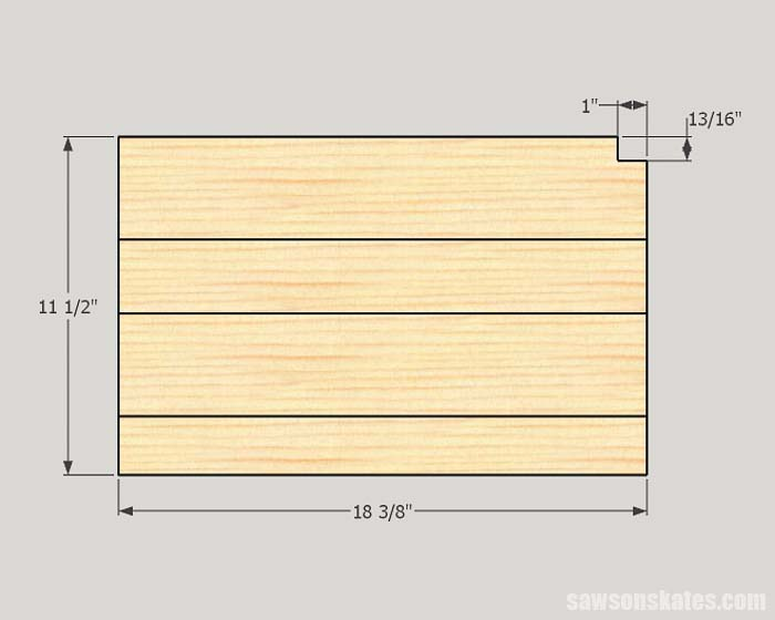 Sketch showing the dimensions of a shelf for a drill storage rack