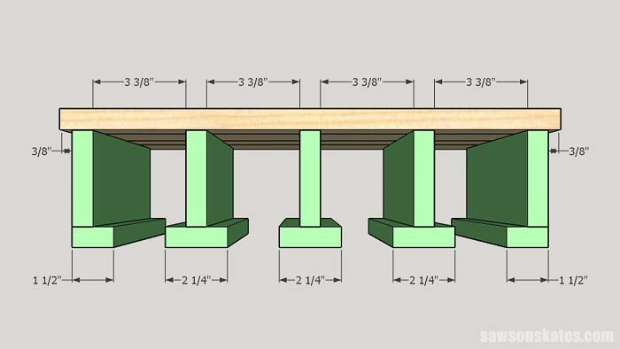 Sketch showing the spacing of the hangers for a drill storage rack