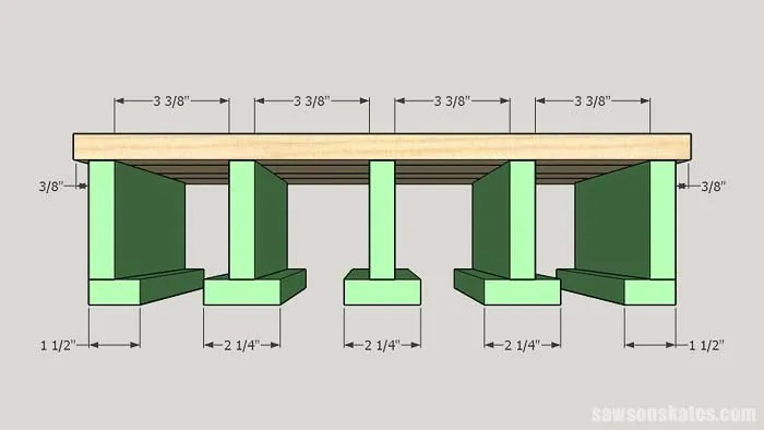 Sketch showing how to assemble a DIY cordless drill storage rack