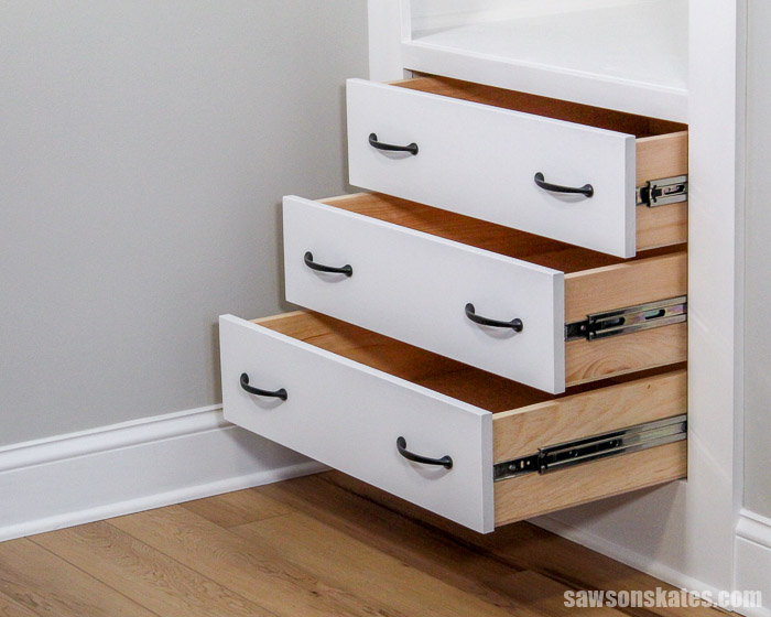 Build DIY drawers with confidence! Learn the foolproof way to measure, build, and install drawers. It's easy for anyone to do with some simple tools.