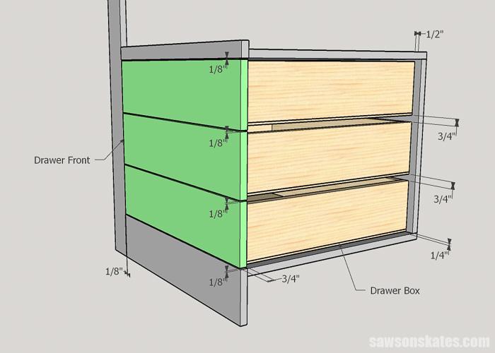 Taking measurements for DIY drawers
