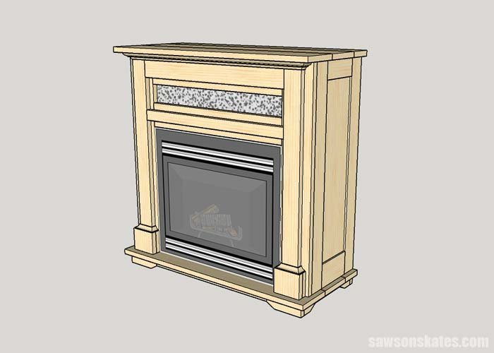 Installing the electric fireplace insert in the DIY TV stand