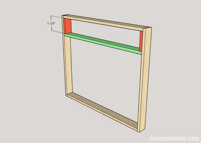 Installing the middle rail on the cat litter box cabinet