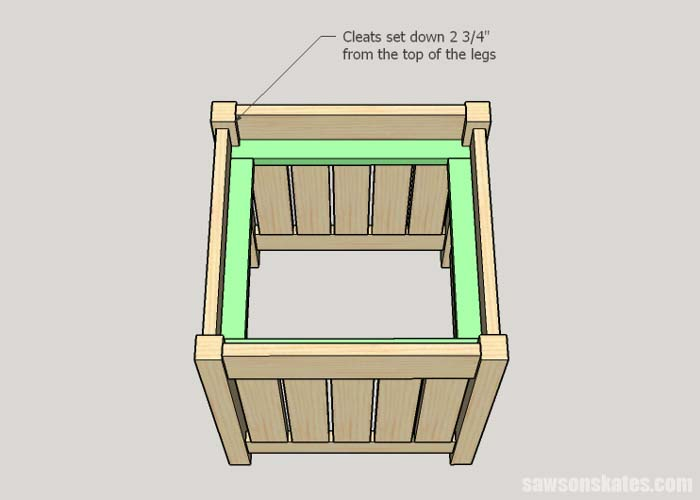 Sketch showing how to install the cleats for the cooler in the DIY outdoor side table