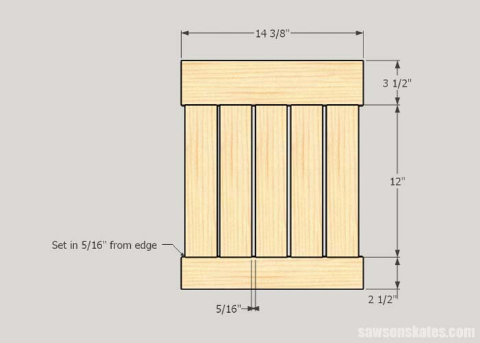 Sketch showing the side panels of the DIY outdoor side table