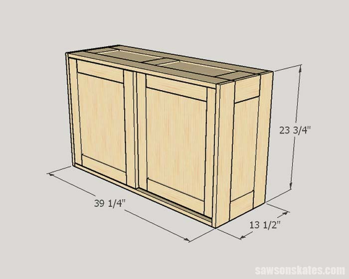 Sketch showing the outside dimensions of the DIY Workshop Cabinet