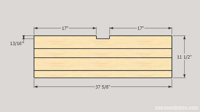 Sketch showing how to build the shelves for the DIY tool storage cabinets