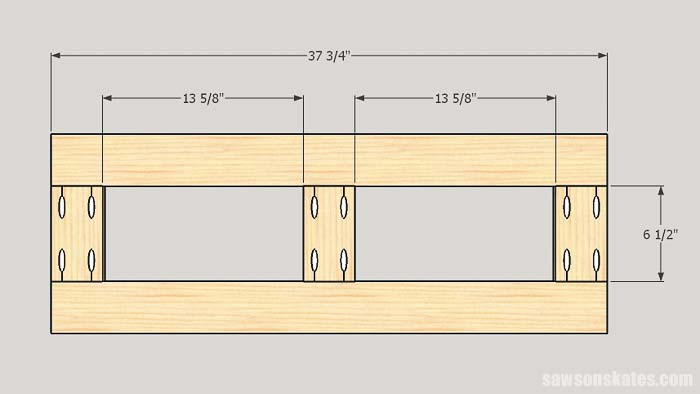 Sketch showing the dimensions of the top and bottom frames for the workshop storage cabinet