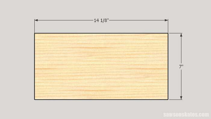 Sketch showing the top and bottom panel dimensions of the workshop storage cabinet