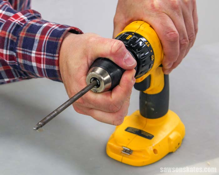 Learning how to change a drill bit with a one part keyless chuck