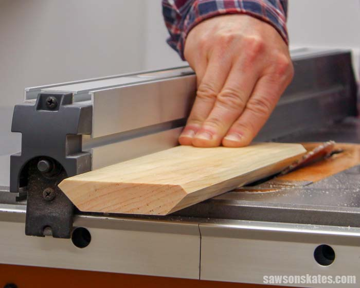Showing how a table saw can be used to bevel the edges of boards