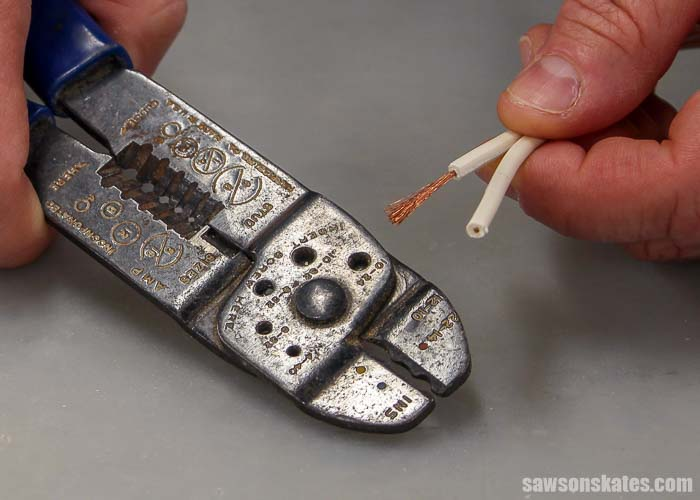 Wire strippers are used to strip insulation off of wires when wiring a plug