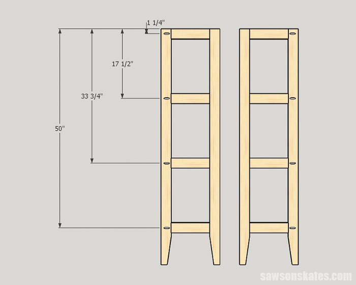 Sketch showing the pocket hole locations for the side assemblies for the outdoor plant stand