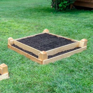 Side angle of a DIY tiered raised garden be