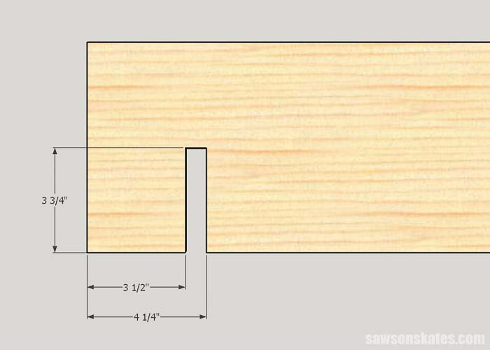 Sketch showing how to make the slot that will connect the sides of the DIY garden bed frame