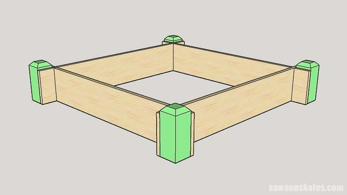 Sketch showing how to install the tiered raised garden bed corners