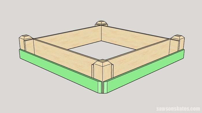 Sketch showing the installation of the lower tier for the tiered garden bed
