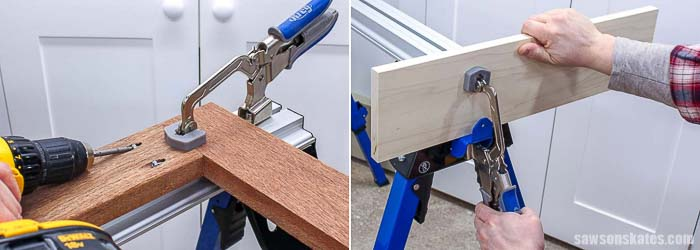 The bnech clamp can attach to the top or side of the Kreg Track Horse sawhorse