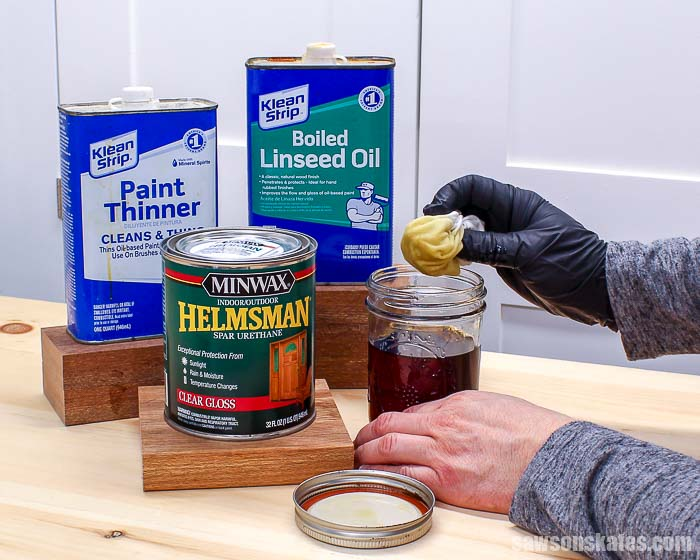 This wipe-on finish is a great alternative to polyurethane. It's easy to make and easier to apply than poly. Use this clear top coat on raw and stained wood.