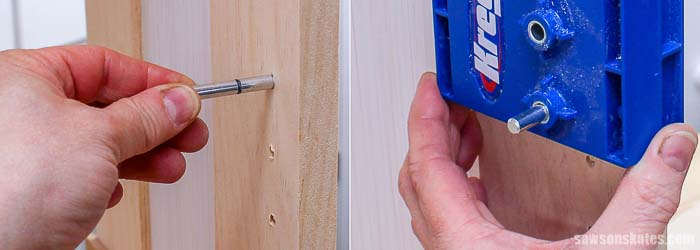 Inserting the indexing pin and repositioning the Kreg Shelf Pin Jig