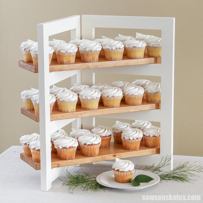 A folding DIY cupcake stand with 36 cupcakes
