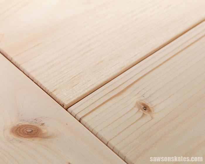 Close up of a DIY farmhouse table top