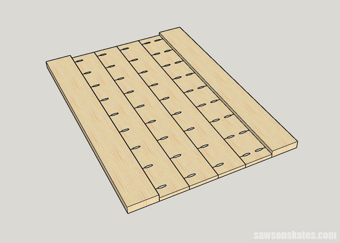 Sketch showing how to attach boards to make a farmhouse table top