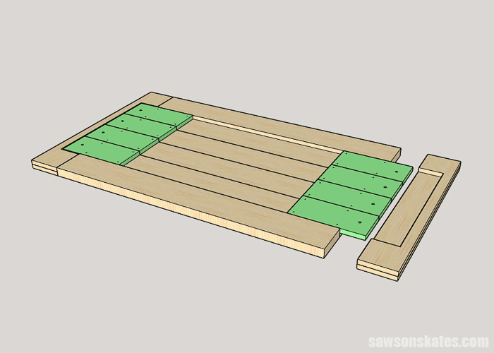Sketch showing how to attach the breadboard ends to a DIY farmhouse table