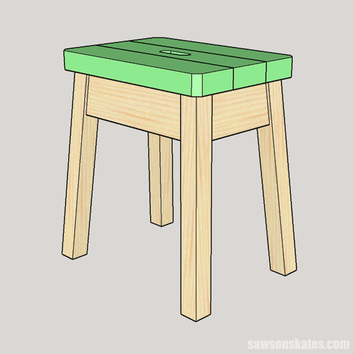 Attaching the wood top on a DIY step stool