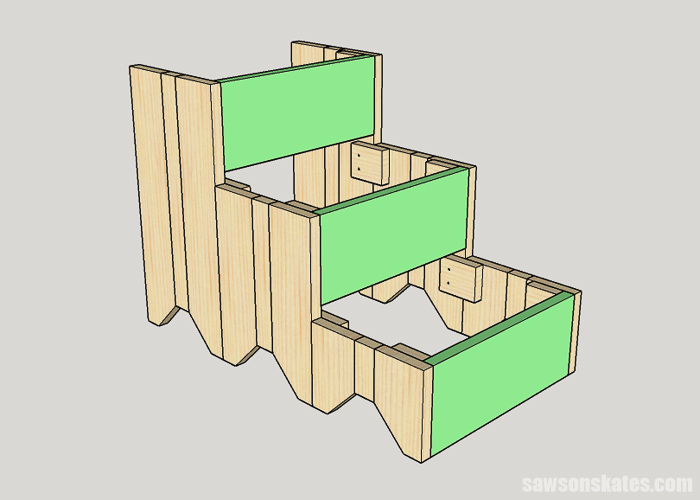 Attaching risers to DIY dog stairs