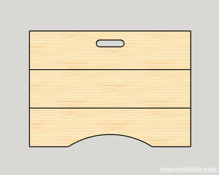 Cutting the handle and curve on a wood DIY lap desk
