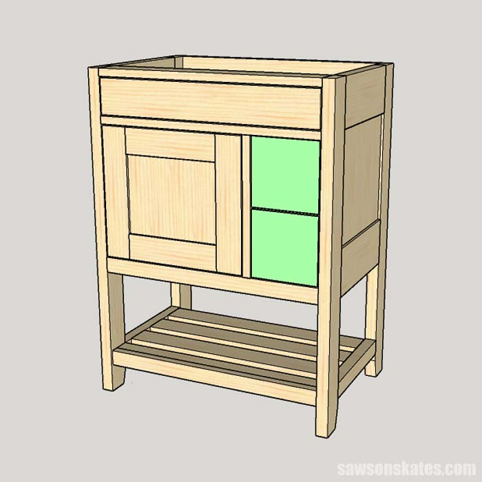 Attaching a faux drawer front in a DIY bathroom vanity