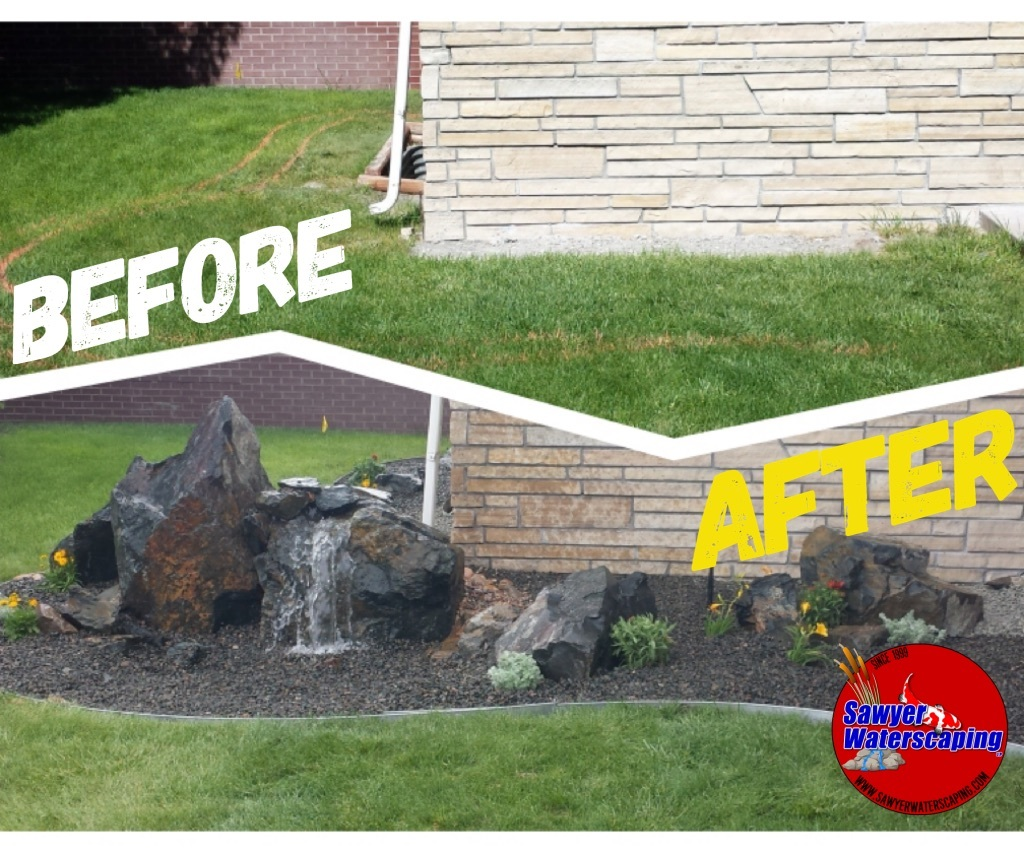 FountainFalls Pondless Waterfall Before and After