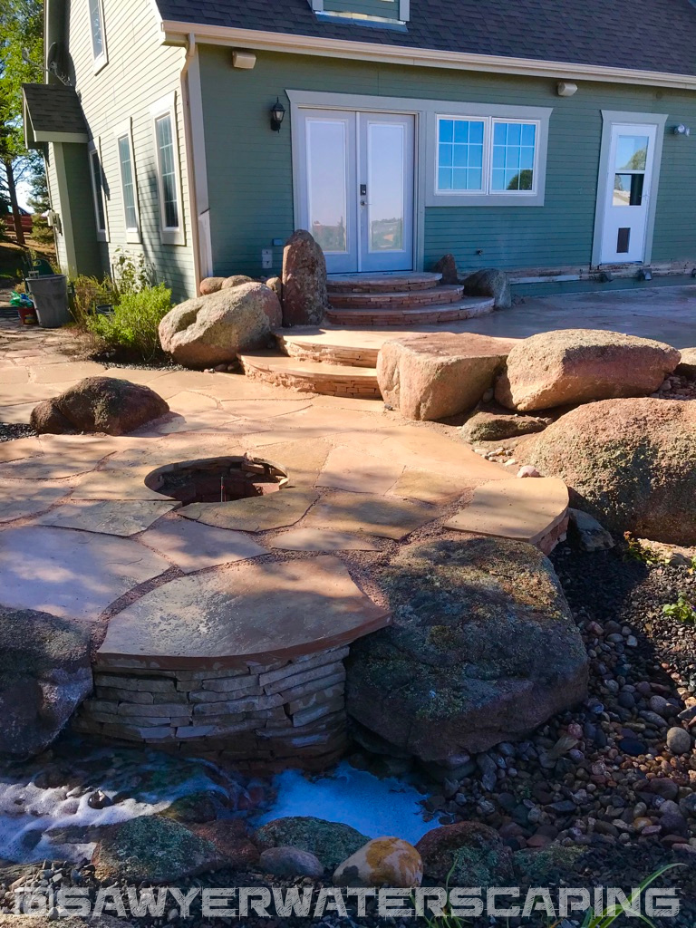 Flagstone Patio and Pondless Waterfall