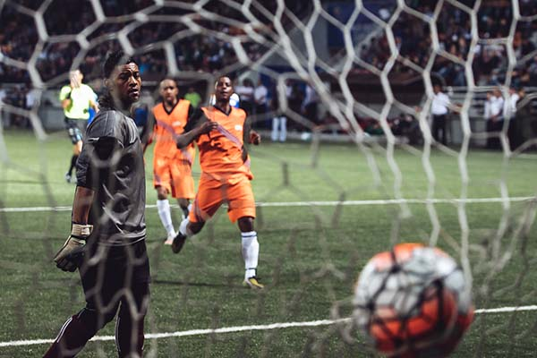 Chagos football team concede a goal at the World Cup of Unrecognized States 2016. ©Max Avdeev