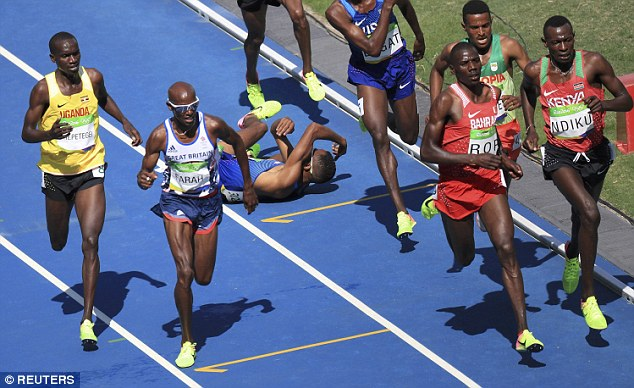 Mead Hassan fell over but Farah stayed on his feet and secured third place